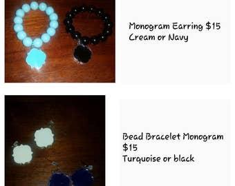 Monogram Earnings & Bracelets