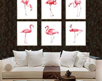 Flamingos watercolor print Set of 6 Art print Flamingos Wall decor Flamingos watercolor print Flamingos poster Flamingos wall decor