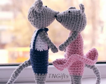Crochet toy for children couple of lovely mice. Eco gift made of cotton or acrylic yarn