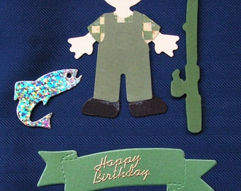 Sizzix die-cut card topper of a fisherman or fishing lady to personlise