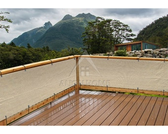 Custom Sized Elegant Privacy Screen - Backyard Deck, Patio, Balcony, Fence, Pool, Railing - Banha Beige No Black Trim - 3ft Tall