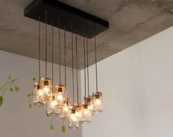Rustic Wood Chandelier, Wood Light,Rustic Lighting,Light Fixture,Mason Jar
