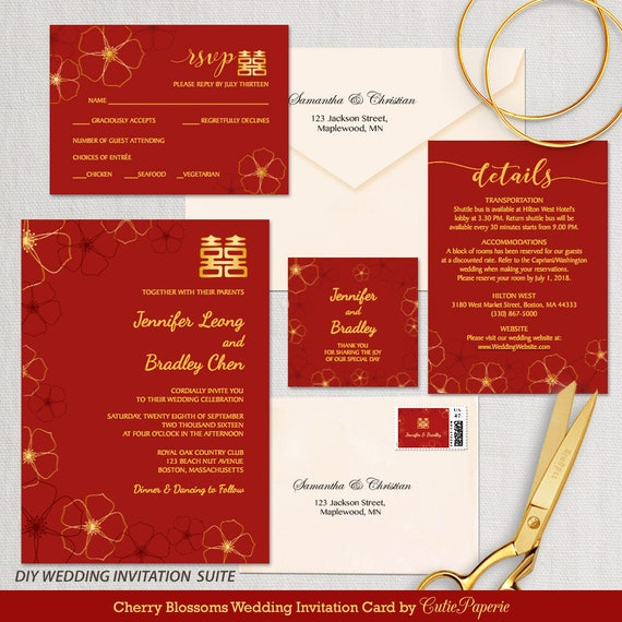 Items similar to wedding invitation template cherry for Chinese wedding invitations etsy