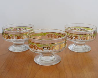 Set of Three Mid-century footed lime green and gold glasses or dessert bowls