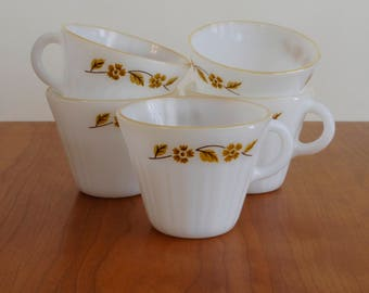 Set of 5 vintage Termocrisa Milk glass yellow floral teacups - coffee mugs with gold luster edges