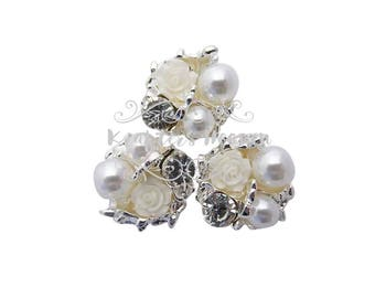 White Pearl Rhinestone~Pearls~Wedding Brooch Bouquet~Crystal Flowers~Crystals~Jewelry Supplies~DIY Supplies~DIY Headbands~Craft Supplies~