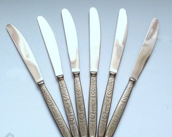 Soviet vintage. Set of 6 knives. Cutlery.  Stainless steel.  Made in the USSR.