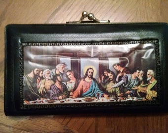 1960's Black Coin Purse - Last Supper