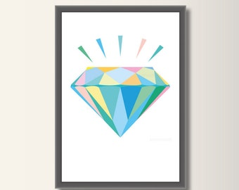 Diamond Blue, geometric print, Pop art, minimalist print, abstract poster, minimal print