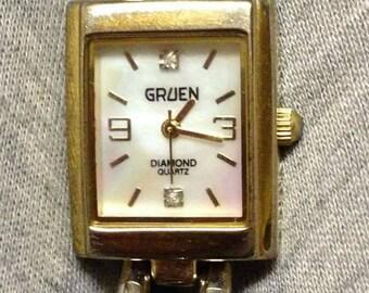 Beautiful Gruen MOP Diamond Quartz ladies 2 tone watch