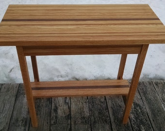 Red Oak and Black Walnut repurposed lumber hall table