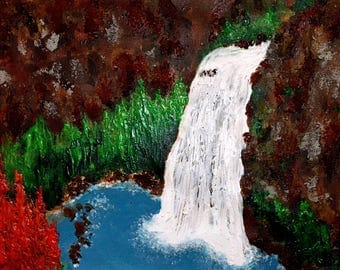 Textured Mountain Lake Painting on Canvas - Acrylic Large Painting - Impasto Waterfall Landscape Painting - Nature Wall Art - Art on Canvas