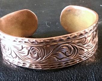 14 gauge hand engraved copper bracelet On sale till Friday
