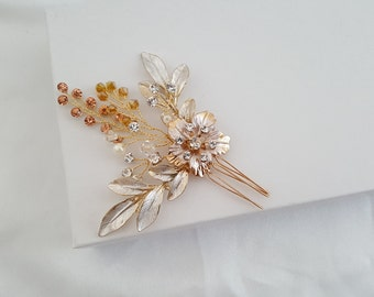 Bridal Hair Pin, Wedding Hair Comb, Bridal Comb, Gold Hair Accessories, Rose Gold Hair Jewelry