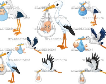 Digital EPS PNG JPG Stork carrying baby, vector, clipart, template, instant download
