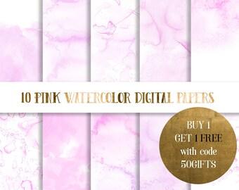 Pink Watercolor Digital Paper,  pink watercolor paper, watercolor texture, watercolor background, scrapbooking paper, pastel watercolor