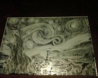 Starry Starry Night - Hand Engraved Mirror(15 x 10 cm)