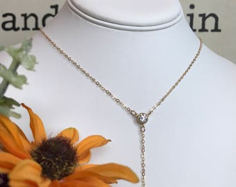 Goldfilled Chain Y-Necklace with CZ connector pendant