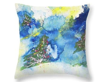 Autumn Woods Abstract Art Accent Pillows, Fine Art Throw Pillows, Toss Pillows, 14 x 14 Pillow Cover, Pillow Cover 20 x 20, Blue Home Decor