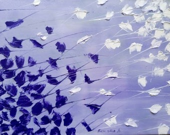 original oil painting, abstract, palette knife,gift for her, the living room, purple, spring, summer