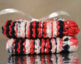 Set of 2 Handmade Patrotic Cotton Washclothes-Red White and Blue Cotton Dishcloth-Crochet Washcloth-Cotton Facecloth