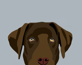 Chocolate Lab Dog Digital Portrait