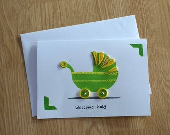 Baby Shower Card, New Baby, Welcome Baby, Buggy, Greeting Card