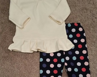 3 mo. Infant Girls Cream ruffled top with polka dot Corduroy navy pants