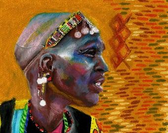 "PRINT || 6.7x5.5"" Maasai woman print - oil pastel portrait of Kenyan Tribal woman - African Art, African design, tribal art, fine art print"