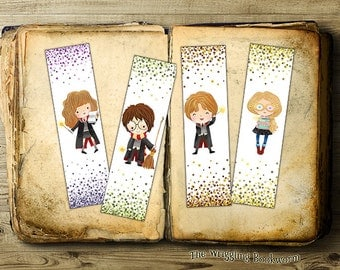 Printable Harry Potter Bookmark Set | Hermione Granger | Ron Weasley | Luna Lovegood | Instant Download