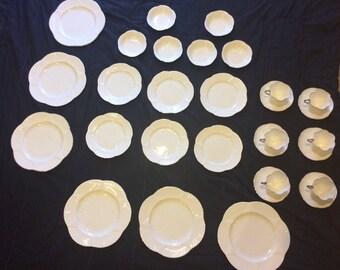 Shelley England Fine Bone China Claire de Lune white w/ silver edging 30 piece set for 6