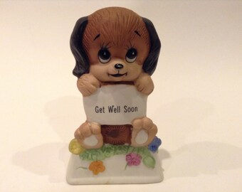 """Vintage Russ Berrie & Co. Inc. """"Get Well Soon"""" Puppy Dog Figurine #808 Made in Taiwan"""