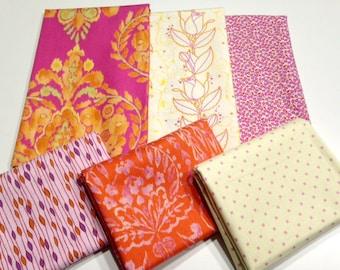 Tangerine & Bright Pink Half Yard Fabric Bundle