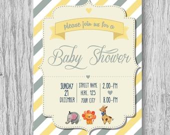 Yello & Gray Baby Shower Invites