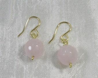 Free shipping / earrings, stone, Rose Quartz