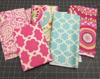 Incroyable Fabric Scraps, KUMARI GARDEN Fabric Remnants, Teja In Pink Fabric, Tarika  In Blue