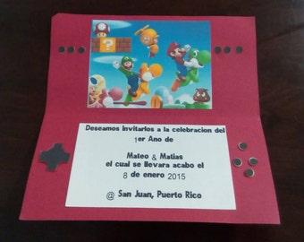 Super Mario bros birthday invitational