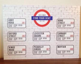 London underground street sign inspired seating plan wedding invitation wedding stationery