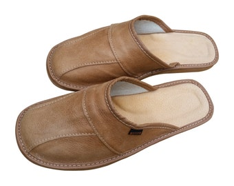 Mens Leather Slippers Slip On Shoes Brown Size 7 8 9 10 11 12 13 UK Mules