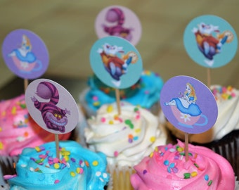 Alice in Wonderland cupcake toppers (Set of 12)