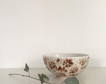 Brown Floral Ceramic Bowl