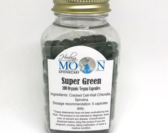 Super Green Organic Vegan Chlorella Spirulina Supplement- 100 capsules