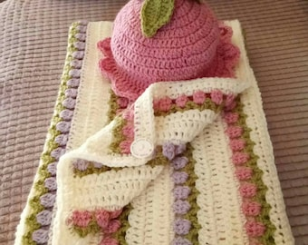 Free postage,Tulip crochet blanket and hat set, tulip crochet, flower blanket, pretty pink blanket, crochet set, crochet blanket, girl, baby