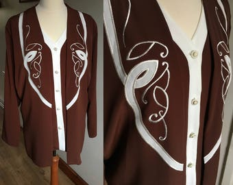 Brown embroidered blouse - Vintage 1980s - plus size 18 - Long sleeves - 'Gabiz Blouses'