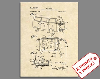 Patent Prints - Volkswagen Bus Patent Art - Vintage Volkswagen Art Patent Print - VW Bus Wall Art - VW Bus Art Patent Poster - VW Bus - 163