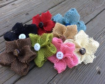 Small Burlap Flower Hair Clips with Button ~ Wedding Hair Clips ~ Rustic ~ Vintage ~ Customizable!