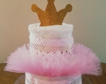 Pink and Gold Princess Diaper Cake