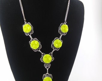 Yellow Druzy Stone with 925 Silver Necklace