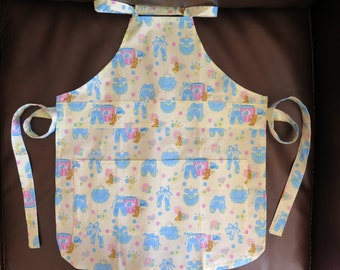 Child's Apron 100% Cotton Painting Crafting School Baking Blue Ballerina Print