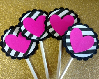 Black & White Striped Pink Heart Cupcake Toppers